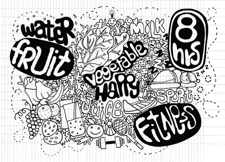 healty lifestyle: Sketch healthy doodle set. Various meals, drinks, objects, sport activities. Doodles,Fitness and Health Illustration