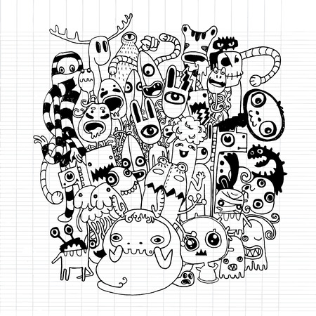 cute alien: Vector illustration of Monsters and cute alien friendly, cool, cute hand-drawn monsters collection ,Notebook Doodle Design Elements on Lined Sketchbook Paper Illustration Illustration