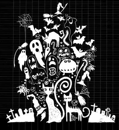 sketchbook: Vector illustration of  Cute hand-drawn Halloween doodles, Notebook Doodle Design Elements on Lined Sketchbook Paper Illustration Illustration