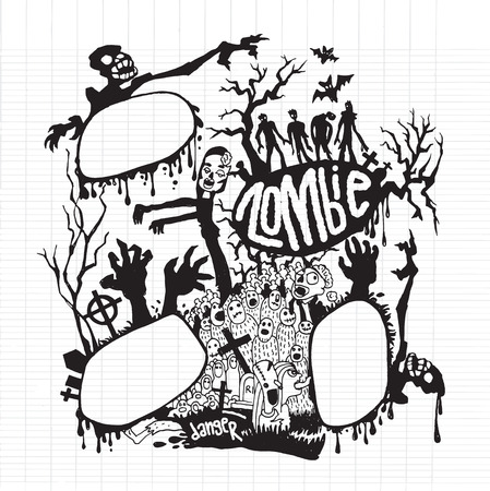 rood: Vector illustration of  Cute Zombies and Monsters set, cool, cute hand-drawn collection ,Notebook Doodle Design Elements on Lined Sketchbook Paper Illustration