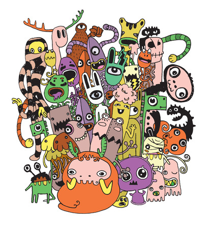 Halloween doodle ,Modern sketchy style image of   Monsters and cute alien friendly, cool, cute hand-drawn monsters collection Vector illustration.  イラスト・ベクター素材