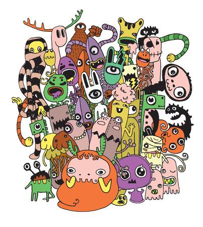 Halloween doodle, Modern imago schetsmatige stijl van Monsters en leuke vreemdeling vriendelijk, koel, leuk handgetekende monsters collectie Vector illustratie. Stock Illustratie