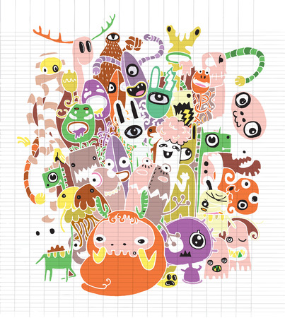 teammate: Halloween doodle ,Modern sketchy style image of   Monsters and cute alien friendly, cool, cute hand-drawn monsters collection Vector illustration. Illustration