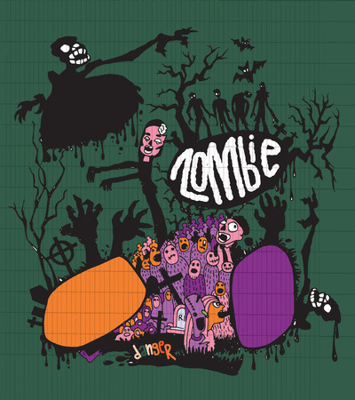 rood: Halloween doodle ,Modern sketchy style image of   Zombies and cute hand-drawn collection Vector EPS 10 illustration.