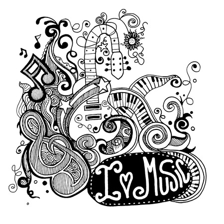 I Love Music Sketchy Notebook Doodles  and Swirls Hand-Drawn Vector Illustration