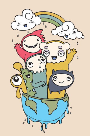 Hand drawn doodle Monster and happy Earth , Vector illustration. 일러스트