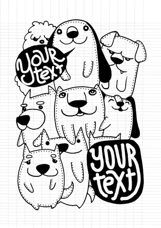 funny: Hand drawn doodle Funny Dog  Set, Vector illustration. Illustration