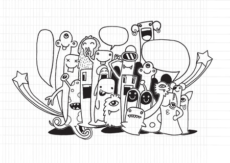 teammate: Vector illustration of monsters and cute alien. Friendly, cool, cute hand-drawn monsters collection. Lined Sketchbook Paper Illustration