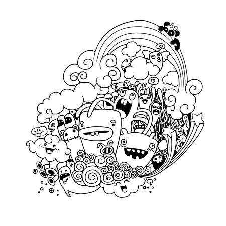 Vector illustration of monsters and alien, cute hand-drawn monsters collection, doodle set, drawing style
