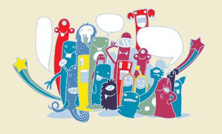 teammate: Vector illustration of monsters and cute alien. Friendly, cool, cute hand-drawn monsters collection
