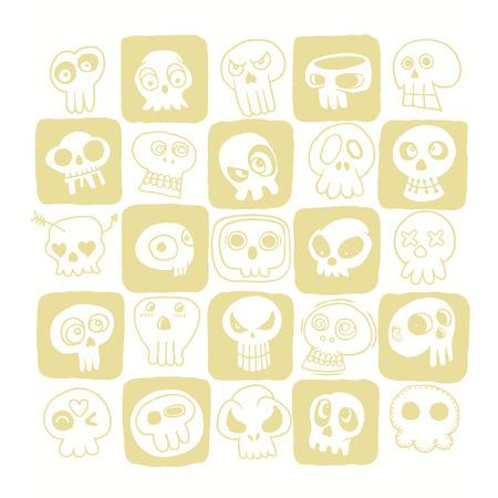 murderer: Hand drawn Skulls doodles vector set. Vector illustration