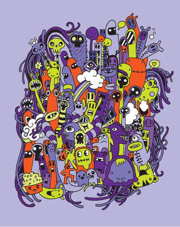funny monster: Hand drawn Aliens and Monsters cartoon doodle.Vector illustration