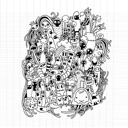pattern monster: Hand drawn Aliens and Monsters cartoon doodle,drawing style Pen on Paper Notebook.Vector illustration.
