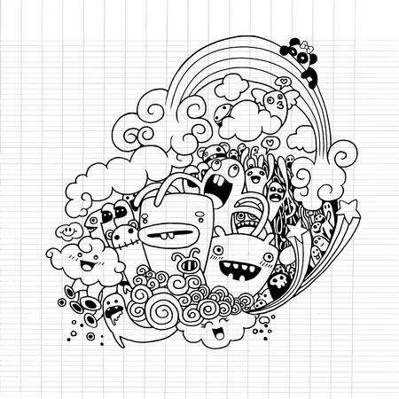 graphic illustration: Vector illustration of Monsters and alien cute doodle set,drawing style Pen on Paper Notebook .Vector illustration.