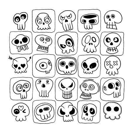 Hand drawn Skulls doodles vector set. Vector illustration