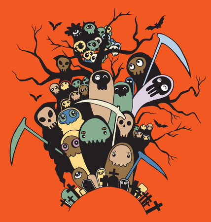 mortal danger: Hand drawn cute Death skeleton characters with and without scythe, suitable for Halloween,doodle style.Vector illustration. Illustration