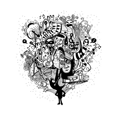 singers: Monster band playing music hand drawn style ,Vector illustration.