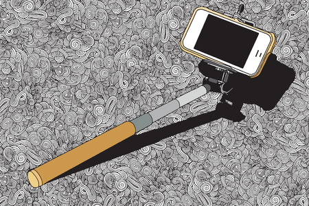 absorbed: selfie stick mono pod with mobile phone with abstract hand drawn background,Vector illustration. Illustration