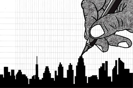 housing project: Simple line drawing of Building in big city.Vector illustration.