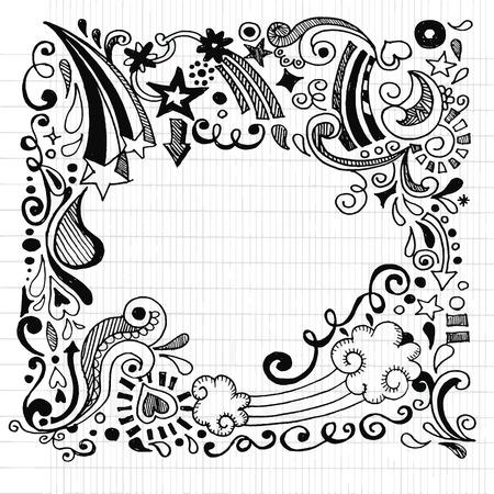 抽象的な手描かれた黒と白の落書きデザイン要素の背景、ベクトル図です。  イラスト・ベクター素材