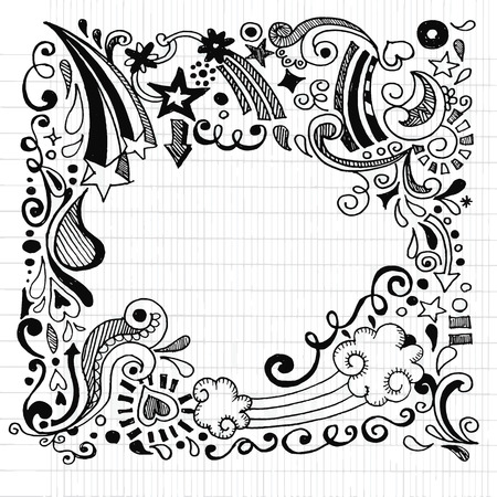 vine border: abstract hand drawn Doodle Design Elements black and white background ,Vector illustration. Illustration