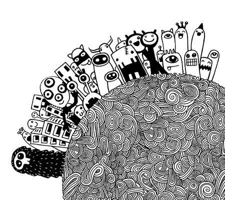 Vector illustratie van de Monsters Bevolking van Onze Wereld, Hand tekening Doodle Monster