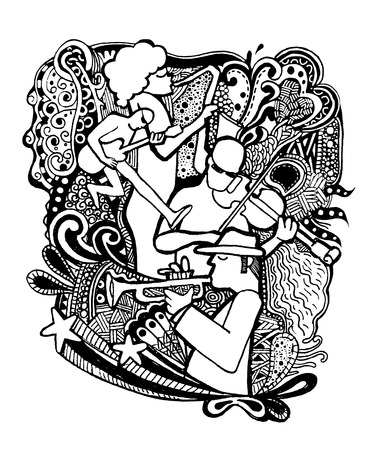 tenor: Hand drawing Doodles musicians with ornamental.Doodle pen drawn background. Vector illustration