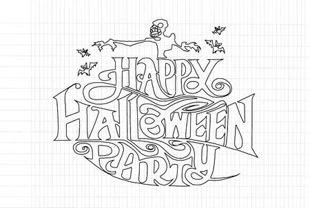 halloween message: Happy Halloween message design background, vector illustration