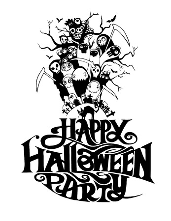 halloween message: Happy Halloween message design background, vector illustration
