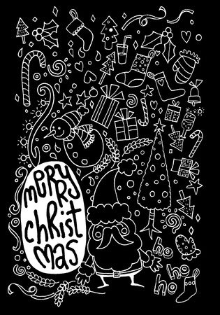 lightsdrawing: Vector illustration of Doodle Christmas background ,Hand drawing Doodle