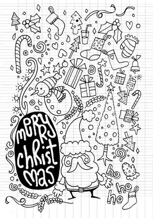 paloma caricatura: Ilustración del vector del fondo del Doodle de la Navidad, gráfico de la mano del Doodle