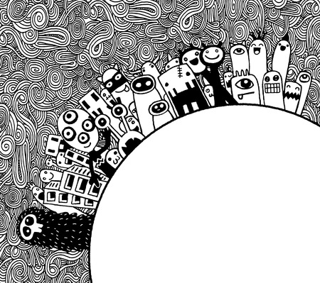 populace: Vector illustration of Monsters Population of Our World ,Hand drawing Doodle Monster