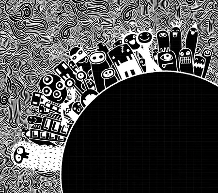 world in hand: Vector illustration of Monsters Population of Our World ,Hand drawing Doodle Monster