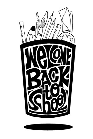 Welcome back to school vector illustration on background. Hand drawn lettering