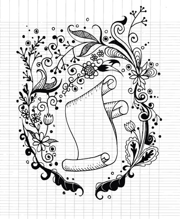 fabrick: Hand-drawn floral background and roll old paper with floral pattern,Vector Illustration Design Elements on Lined Sketchbook Paper Background Illustration
