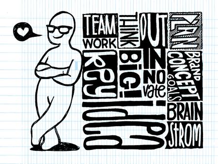 成功の概念のスタックにもたれてクロス武装幸せな男の手描き図関連用語、ベクトル イラスト デザイン素材が並んでスケッチ ブックの紙の背景