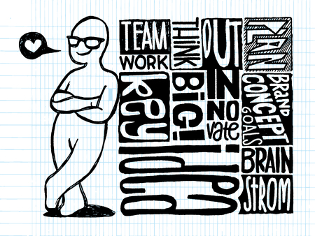 Hand getekende figuur van cross-gewapende Gelukkig man leunend tegen de stapels Succes concept verwante woorden, Vector Illustratie ontwerpelementen op bekleed Sketchbook papier achtergrond