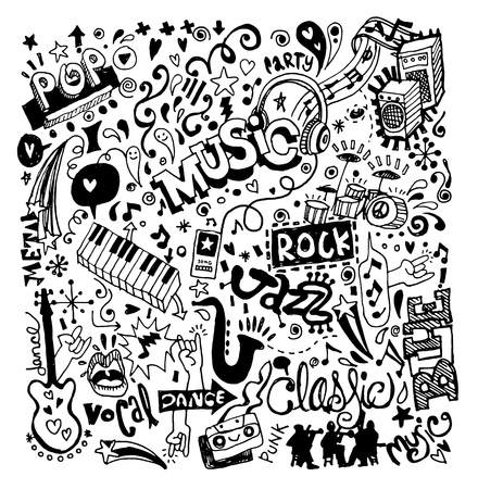 Abstract Music Background ,Collage with musical instruments.Hand drawing Doodle,vector illustration. Vettoriali