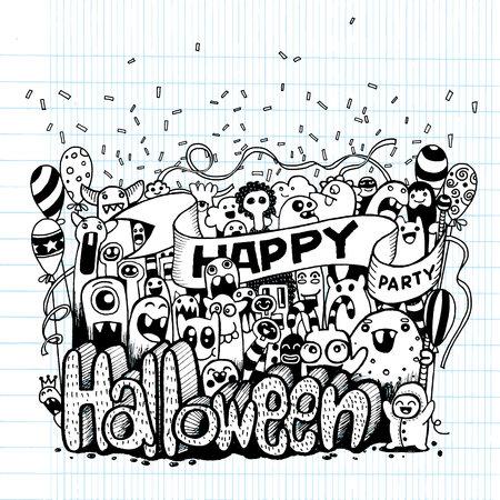 teammate: Hand drawn  of a happy Monsters cartoon doodle celebration Halloween party .Vector illustration ,drawing style Pen on Paper Notebook.Vector illustration.
