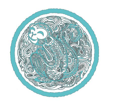 disegno a mano: Disegno a mano Scimmia avatar, segno zodiacale cinese, silhouette isolato, disegnati a mano ritratto anno della scimmia, illustrazione vettoriale Vettoriali
