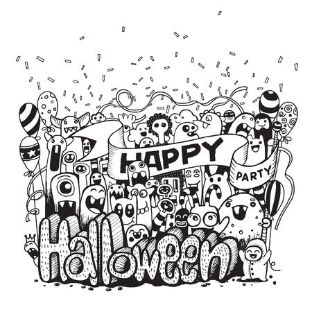 celebration party: Hand drawn  of a happy Monsters cartoon doodle celebration Halloween party .Vector illustration Illustration