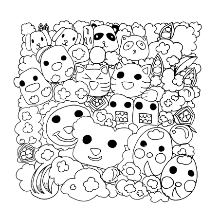 teammate: Hand drawn Aliens and Monsters cartoon doodle.Vector illustration