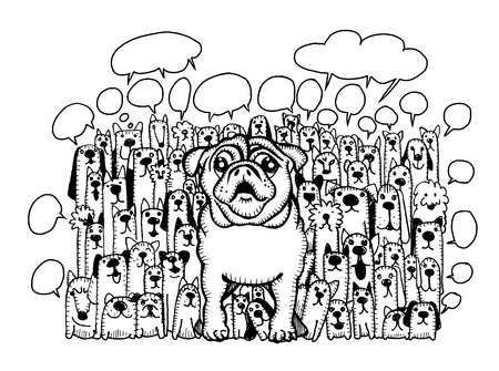 shire: Hand drawing Doodle cute dogs group and speaking bubble,Vector Illustration Illustration