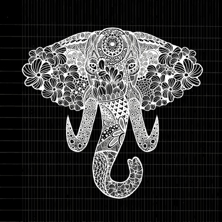 ornamentation: The stylized head of an elephant,Hand Drawn lace illustration isolated.Vector illustration