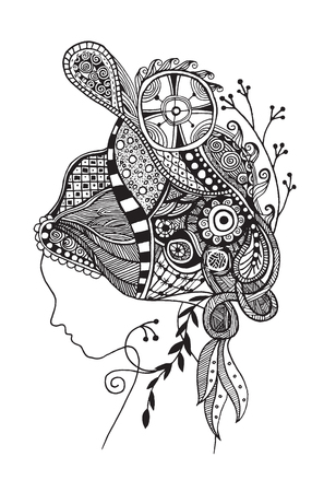 Zentangle stylized  beautiful woman's face. Hand Drawn doodle vector illustration isolated.