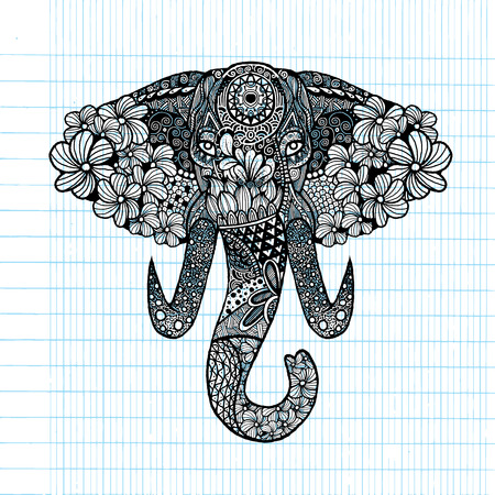 proboscis: The stylized head of an elephant,Hand Drawn lace illustration isolated.Vector illustration