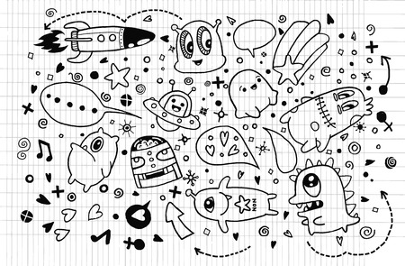 alien symbol: Hand drawn Aliens and Monsters cartoon doodle,drawing style Pen on Paper Notebook,suitable for Halloween. Vector illustration.