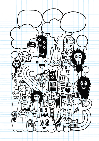 teammate: Vector illustration of Monsters and cute alien friendly, cool, cute hand-drawn monsters collection ,Notebook Doodle Design Elements on Lined Sketchbook Paper Illustration Illustration