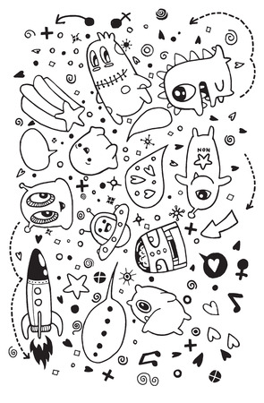 teammate: Hand drawn Aliens and Monsters cartoon doodle,suitable for Halloween. Vector illustration.
