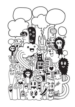 Vector illustratie van Monsters en leuke vreemdeling vriendelijk, koel, leuk handgetekende monsters verzamelen